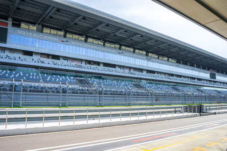 Russia, Sochi - March 03, 2019. Main tribune of Formula 1. View from the pit lane Editorial