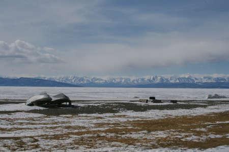 shore: Winter lake shore in Mongolia