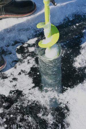 ice fishing: ice fishing fresh fish Stock Photo