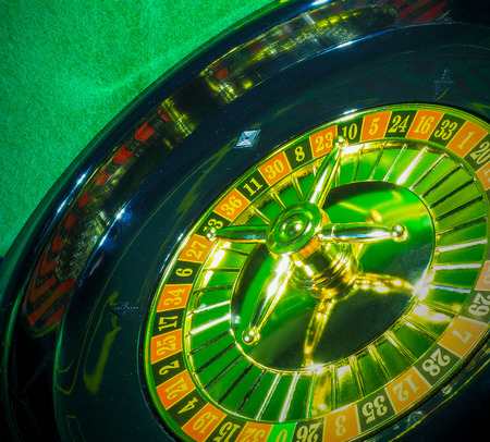 Casino on a dark background, bright and colorful gold-plated