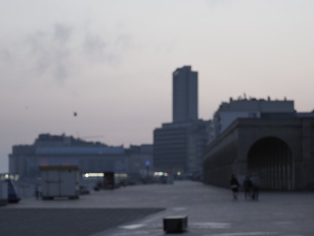 An out of focus image of the skyline of Ostend.