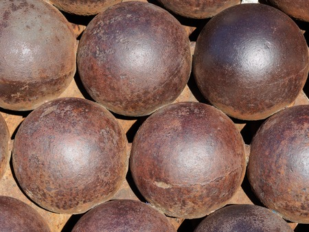 A stack of cannon balls near the royal palace in Monaco.