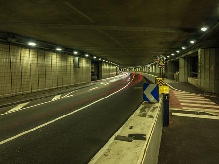 A long exposure photo of the Larvotto tunnel in Monaco.