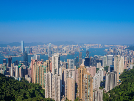 A view of Hong Kong from Victoria Peak. Imagens