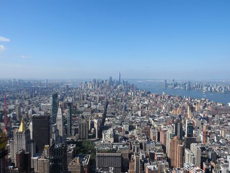 Aerial view of midtown and lower Manhattan.