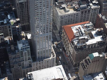 A high angle view of the streets of Manhattan.