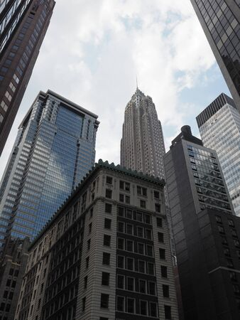 A mix of art deco and more recent architectural styles near Wall Street.