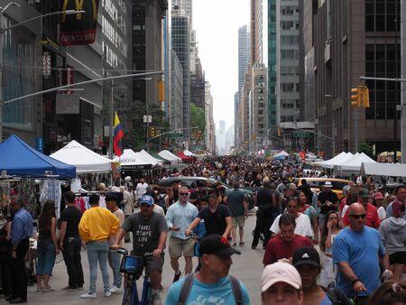New York, USA - June 1, 2019: Street fair on 6th Avenue in Manhattan. Редакционное
