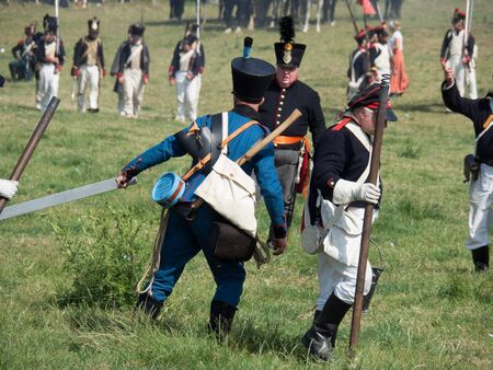 Waterloo, Belgium - June 18 2017: People from all over Europe participate in the re-enactment of the battle of Waterloo.
