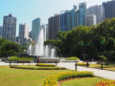 Central, Hong Kong - November 1, 2017: A view of the fountain located in the Hong Kong Zoological and Botanical Gardens.