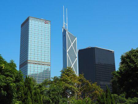 Central, Hong Kong - November 1, 2017: A view of Hong Kong's skyline from Hong Kong Zoological and Botanical Gardens.