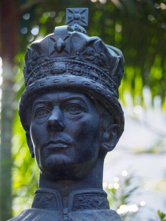 Central, Hong Kong - November 1, 2017: King George VI statue in Hong Kong Zoological and Botanical Gardens.