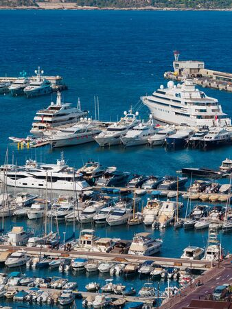 Monaco - August 11 2017: A picture of the various boats in Port Hercule. Publikacyjne