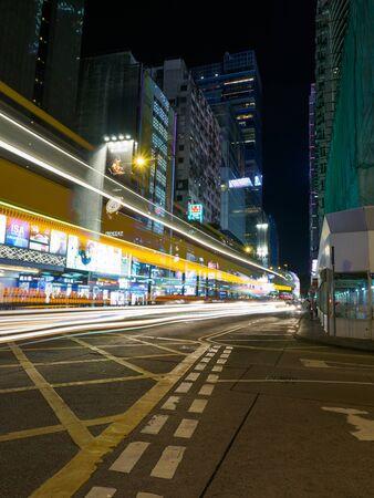Kowloon, Hong Kong - November 02, 2017: A long exposure shot of the Middle Road intersection with Nathan Road in Hong Kong.