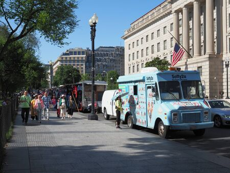 An ice cream truck and the various souvenir stands in Washington D.C. Editorial