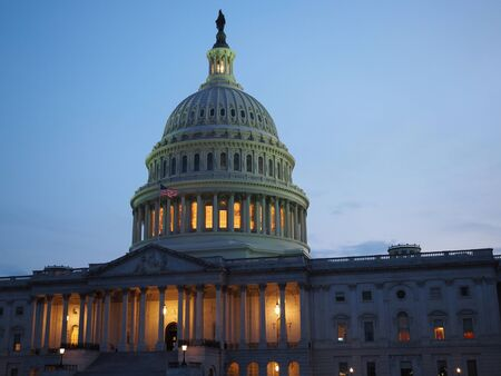 The Capitol Building in Washington D.C. on a summer night.