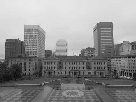 Monochrome image Richmond skyline.