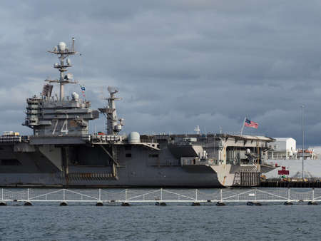 The aircraft carrier USS John C. Stennis docked at the Norfolk Naval Base.