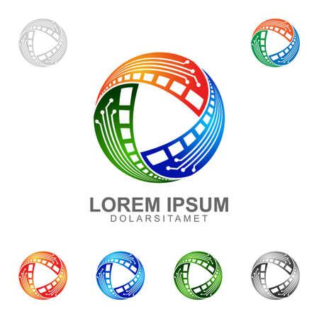 ビデオのロゴ、ビデオ技術のロゴの設計