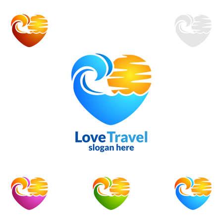 Abstract Reis en Toerismeembleem met Liefde, Overzees, en Strandvorm in modieuze die Kleuren van Hotel en vakantie op witte vectorillustratie wordt geïsoleerd als achtergrond