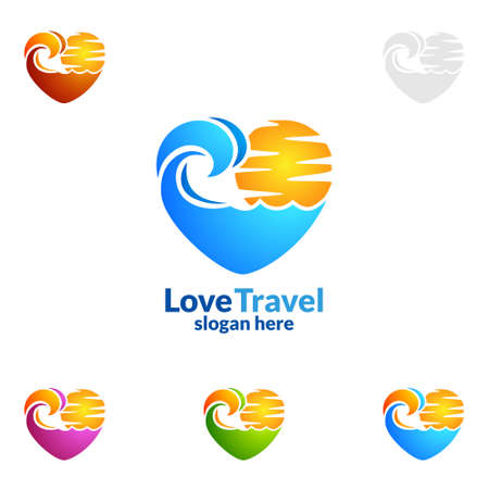 Abstract Travel and Tourism Logo with Love, Sea,and Beach shape in stylish Colors of Hotel and vacation   Isolated on white background vector illustration Vettoriali