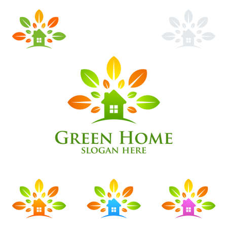 Green Home logo, Real Estate vector logo design with House and ecology shape, isolated on white background Illustration