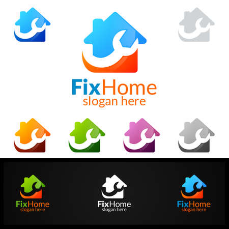 Real Estate Fix Home design template banner. Illustration