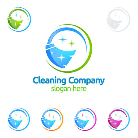 Cleaning Service vector Logo design, Eco Friendly with shiny broom and circle Concept isolated on white Background Иллюстрация
