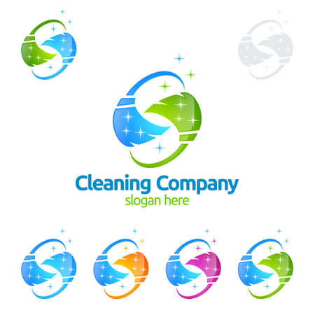 Cleaning Service vector Logo design, Eco Friendly with shiny broom and circle Concept isolated on white Background Illustration