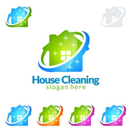 Progettazione di logo di vettore di servizio di pulizia, Eco amichevole con la scopa brillante e concetto del cerchio isolato su fondo bianco Logo