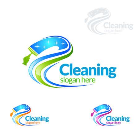 Service de nettoyage vector Logo Design, Eco Friendly avec balai brillant et cercle Concept isolé sur fond blanc
