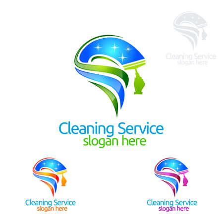Service de nettoyage vector Logo Design, Eco Friendly avec balai brillant et cercle Concept isolé sur fond blanc Logo