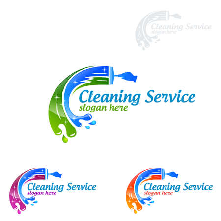 Cleaning Service vector Logo design, Eco Friendly Concept for Interior, Home and Building  イラスト・ベクター素材