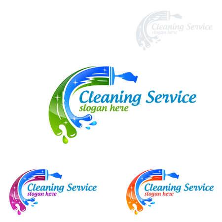 Servizio di pulizia Logo design vettoriale, Eco Friendly Concept per interni, casa e costruzione
