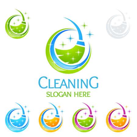 Service de nettoyage Logo Design vectoriel, respectueux de l'environnement avec une brosse en verre brillant et Concept de cercle isolé sur fond blanc Banque d'images - 95658687