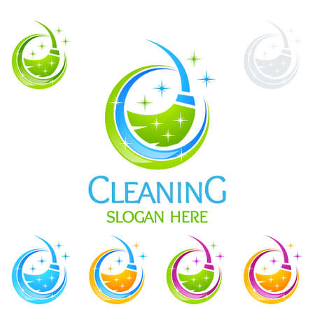 Cleaning Service Vector Logo Design, Eco Friendly with shiny glass brush and Circle Concept isolated on white Background Vettoriali