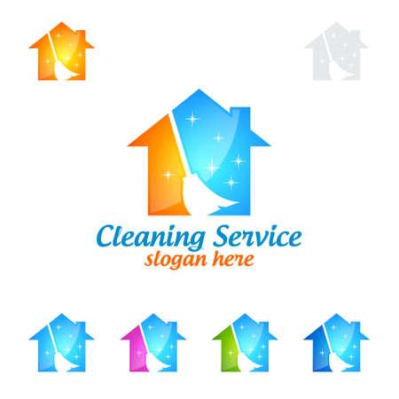 Service de nettoyage à domicile Design de logo vectoriel, respectueux de l'environnement avec une brosse en verre brillant et Circle Concept isolé sur fond blanc Banque d'images - 95658688