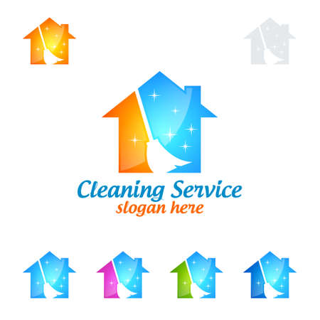 Home Cleaning Service Vector Logo Design, Eco Friendly with shiny glass brush and Circle Concept isolated on white Background