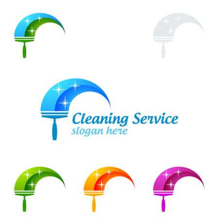 Cleaning Service Vector Logo Design, Eco Friendly with shiny glass brush and spray Concept isolated on white Background