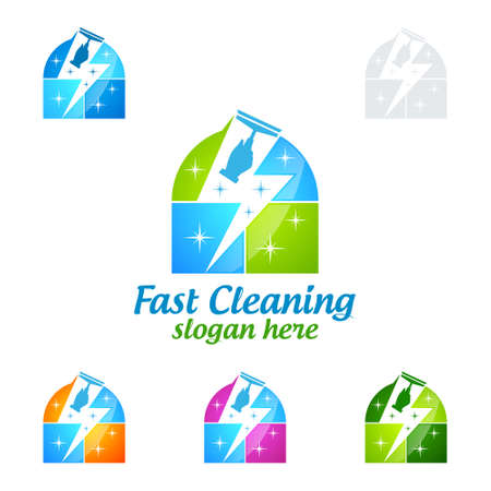 House Cleaning Vector Logo Design, Eco Friendly with shiny glass brush and Fast Concept isolated on white Background