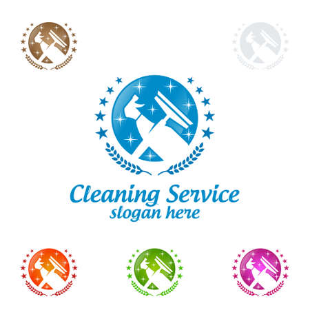 fee00f3ff8c House Cleaning Vector Logo Design