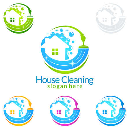 Cleaning Home Service vector Logo design, Eco Friendly Concept with splash water Иллюстрация