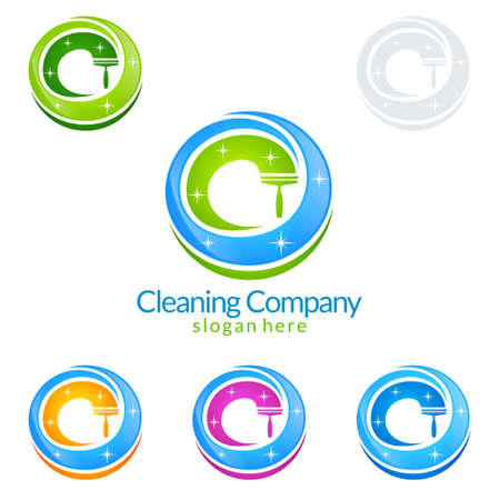 Cleaning Service vector Logo design, Eco Friendly Concept with splash water