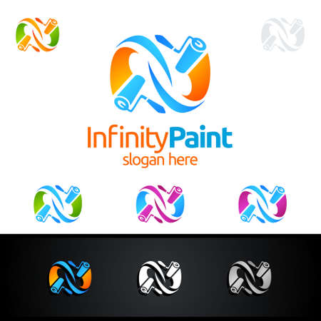 Infinity Home Logo, Home Painting Vector Logo Design