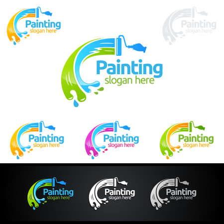painting business logos 向量圖像
