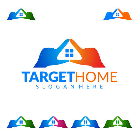 Target Home, Real estate Vector Logo Design, Abstract Building and Home with line shape represented unique,  strong and modern Real estate Logo Design
