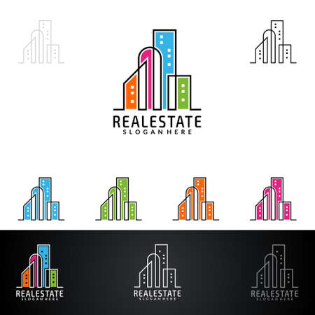 Real estate Vector Design, Abstract Building and Home with line shape represented unique, strong and modern Real estate Design. Ilustrace