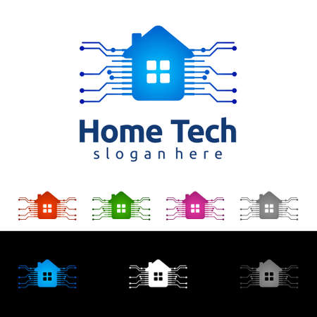 Home Technology concept, Home Tech Design with home and network cable, represented hosting, internet or Data.
