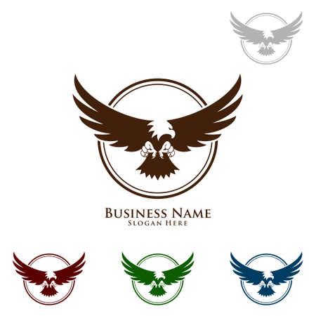 Logo Eagle, vecteur Wild eagle Bird Falcon Hawk isolé sur fond blanc. Banque d'images - 95860647