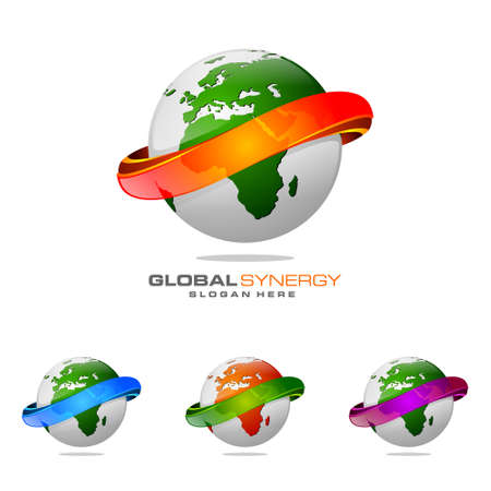 Global logo with ring sphere and digital world motion vector logo design